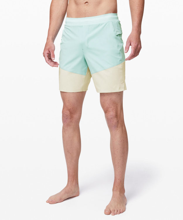 men's swimsuit teal and yellow shorts