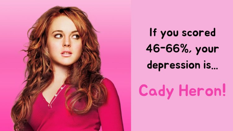 If you scored 46-66%, your depression is... Cady Heron!