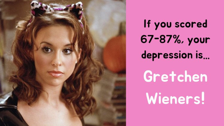 If you scored 67-87%, your depression is... Gretchen Wieners!