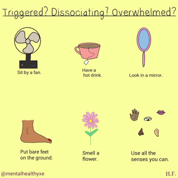 trigger, dissociating, overwhelmed coping strategies