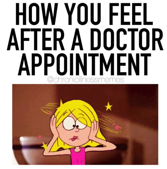 how you feel after a doctor's appointment, head spinning cartoon girl
