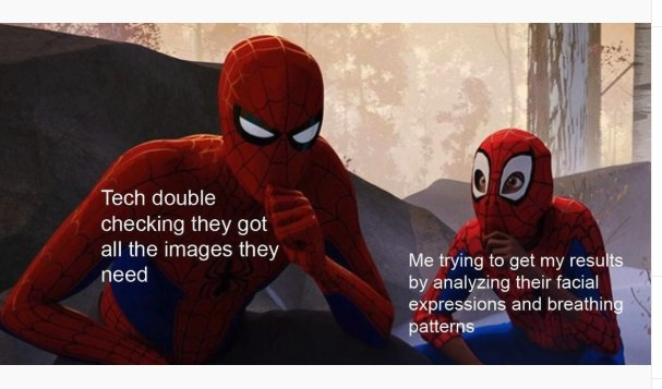 spiderman meme about watching tech's facial expressions to figure out what they're thinking