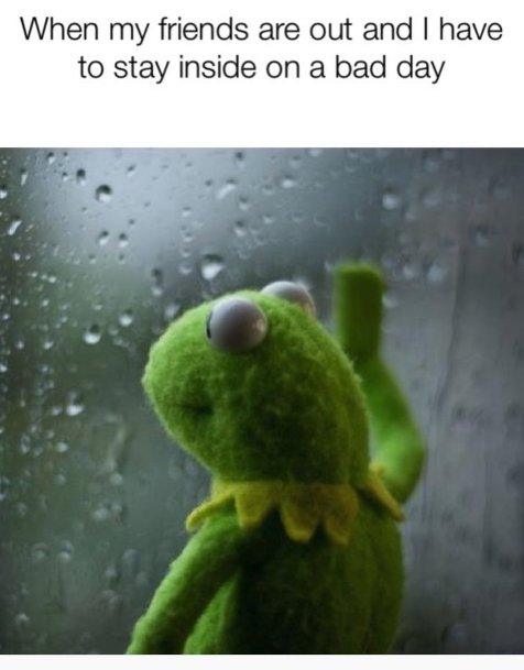 kermit looking out rainy window, when friends go out and you have to stay inside