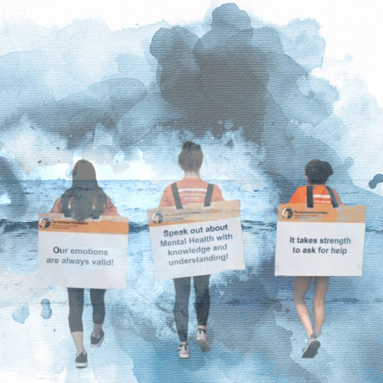 """People walking with signs at a BPD awareness walk. Signs say: """"Our emotions are always valid!"""" and """"Speak out about Mental health with knowledge and understanding!"""""""